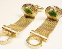 DANTE CUFFLINKS, mesh Wrap Cufflinks, inlaid genuine jade Stone, Men Jewelry, Wedding Jewelry, Groom Best Man, Formal Wear / Shirt Accessory