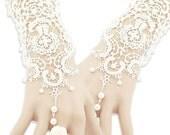 One Pair Of Graceful Pearl Beaded Lace Fingerless Gloves White Bracelet