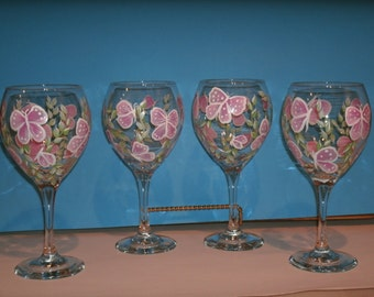 BUTTERFLY WINE GLASSES set of four