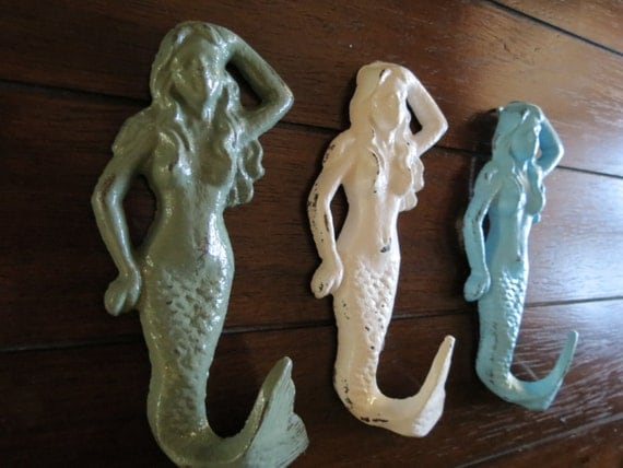 Mermaid Hook Set / White, Sage Green and Aqua Blue or Pick Colors / Bathroom Towel Hangers / Nautical Beach Cottage Decor / Jewelry Holders