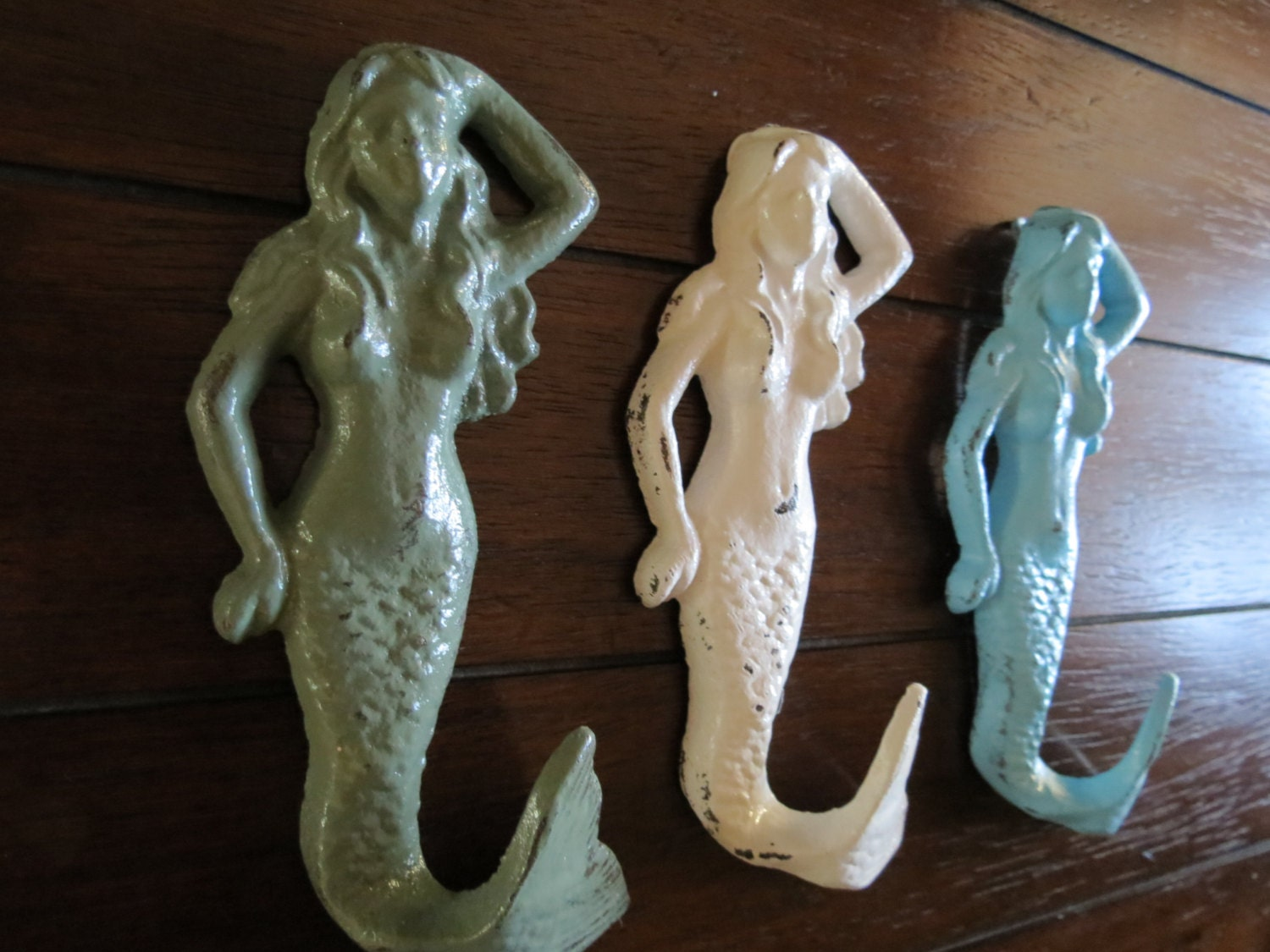 Mermaid hook set white sage green and aqua blue or pick for Mermaid bathroom decor vintage