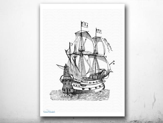 Nautical Art Print Vintage Ship Illustration Black By