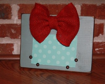 Distressed Picture Frame with Burlap Bow  4x6