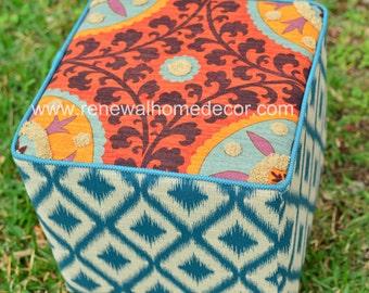 "Custom Order - Upholstered Ottoman - ""Fiesta Ottoman"" - SOLD"