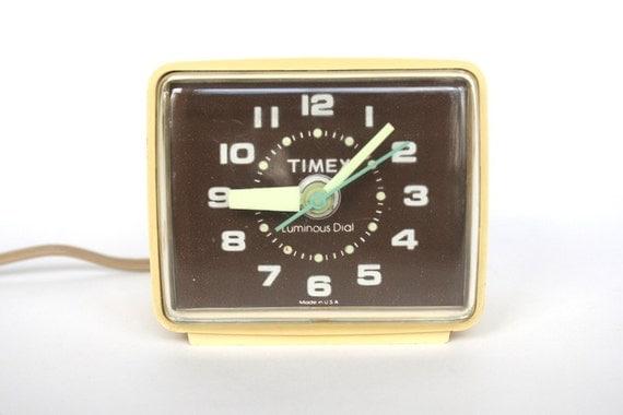 Timex Alarm Clock Luminous Dial Brown Turquoise Beige Electric