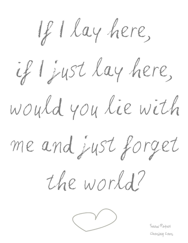 Printable Snow Patrol Chasing Cars Lyrics By