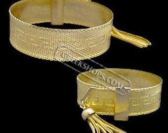 Gold Overlay Greek Key Adjustable Bracelet with Tassel