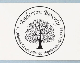 Custom Address Stamp, Circle Tree Design - Personalized Address Rubber Stamp - AA35