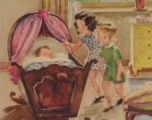Vintage Watercolor School Classroom Chart, Story Print Birth : Newborn baby boy or girl