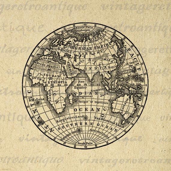 Digital Printable Antique Earth Globe Map Image Eastern Hemisphere - Printable antique world map