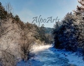 8x10 Winter River Sunrise closeup Photograph