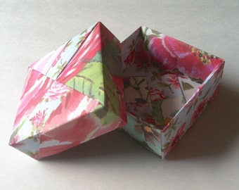 Pink & Blue Floral Origami Box