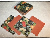 SALE: Thirty (30) Handmade Asian Themed Japanese Washi Paper/ Metallic back Scalloped-edged Tags