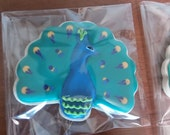 Peacock decorated sugar cookie
