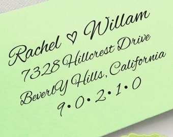 CUSTOM ADDRESS STAMP, personalized pre inked address stamp, pre inked custom address stamp, address stamp with proof - calligraphy c6-17
