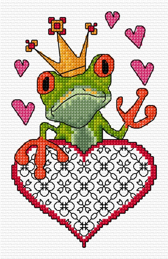 My froggy Valentine Cross Stitch PDF Chart