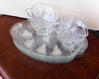 Vintage Anchor Hocking Grape Snack Set
