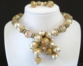 Vintage Faux Pearl Venetian Lampwork Wedding Cake Bridal Necklace & Earrings Unsigned