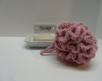Hand Crocheted Extra Large Bath Puff in Fairytale Pink, Shower Puff, Facial Puff