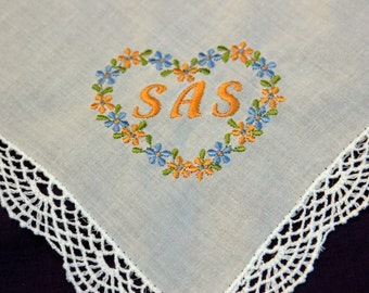 Ladies Flower & Lace Handkerchiefs  featuring Custom embroidery work