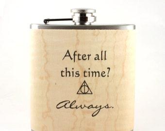 Harry Potter flask wood  gift Rickman Snape - real wood  flask