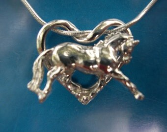 Floating horse heart sterling silver pendant and chain dressage horse jewelry