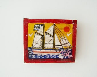 Greek sailboat folk painting, acrylic sailboat painting on salvaged wood, vintage folk art painting, Greek folk art, art naif painting