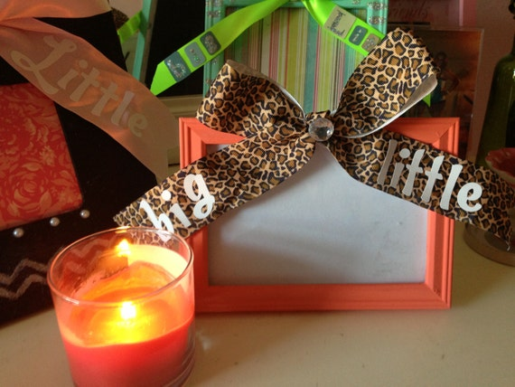 sorority big little sister gift picture frame coral cheetah print bow bling 4x6