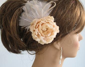 Wedding Accessory Hair Clip Fascinator Bridal Accessory Hair Flower Clip Vail Feathers
