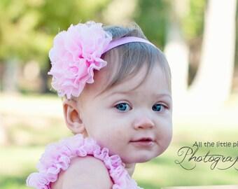 Pink Baby Headband, newborn headband, elastic headband, girl headband, flower. Newborn Photo prop, First birthday headband.