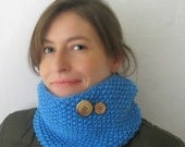 Violet Beauregarde : Blueberry Cowl Inspired by Willy Wonka Novel Character - Knit Neckwarmer Textured Merino - Seed Stitch