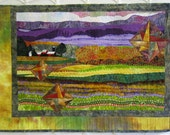 Stars Over Purple Mountains Majesty - Art Quilt - Farm Scene - Barn - Fields - Mountains - Green - Purple