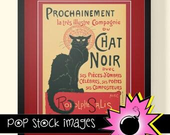 Le Chat Noir Printable Art - Wall Art Printable - French Cabaret Poster - Digital Printable Poster - Paris Cabaret - Black Cat Poster Art