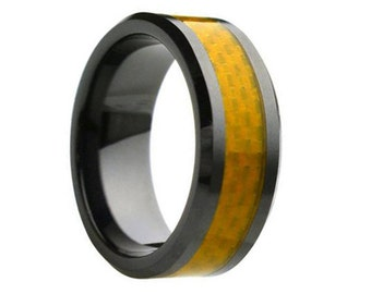 Ceramic Wedding Band,Mens Ring,Mens Wedding Bands,Custom Made,Rings,Yellow Carbon Fiber,8mm,Engraving,Mans,Anniversary,His,Set,Size,Women,10