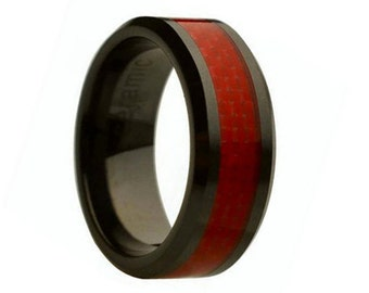 Ceramic Wedding Band,Mens Ring,Mens Wedding Bands,Custom Made,Rings,Red Carbon Fiber,8mm,Engraving,Mans,Anniversary,His,Set,Size,Women,10