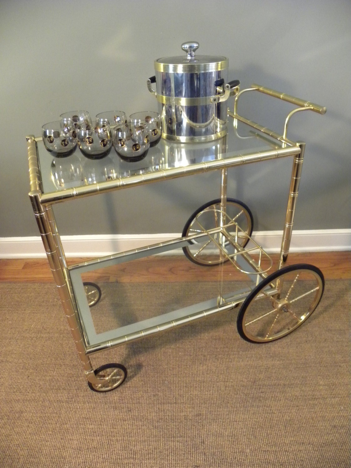 Vintage Brass And Glass Tea Beverage Cart Mint Condition