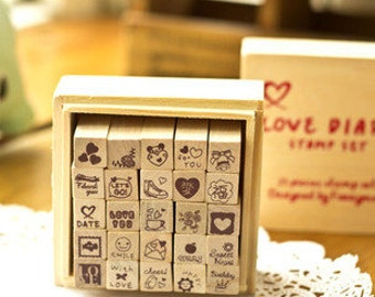 Love Diary Stamp Set  -- Wooden Rubber Stamp Set -- Korean Stamps - 25 pcs