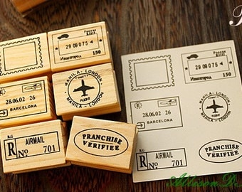 Postmark Stamp Set  -- Wooden Rubber Stamps -- Korean Stamps -- Diary Stamps -- Style B