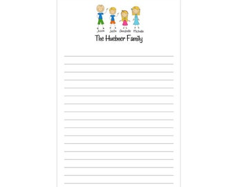 Set of 2 Personalized Family Notepads Stick People by Swell Printing