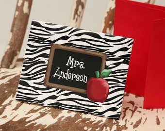 10 Personalized Notecards Zebra Print notecards