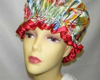 Red Retro Printed Satin Shower Cap