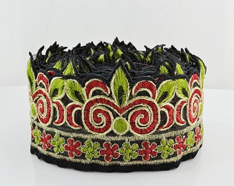 Embroidery Lace Trim, Organza Border, Indian Style, Ornaments, Green, Red, Gold Thread - 1 meter