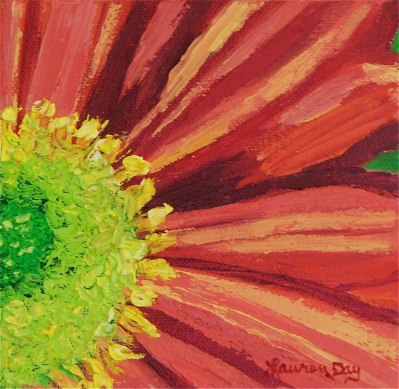 Red & Coral Flower Original Oil Painting 5x5 Original Oil
