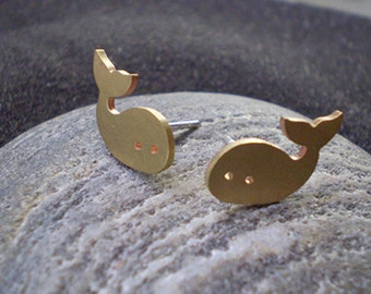 Bronze tiny whale earrings