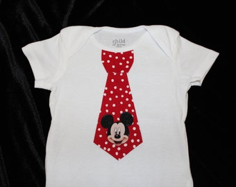 Mickey Mouse Tie Boy's Creeper - T-shirt - Newborn - Infant - Toddler