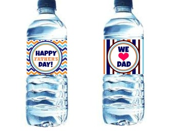 INSTANT Download FATHERS Day Water Drink Bottle And Napkin Ring PRINTABLE Download - Fun Family Party diy