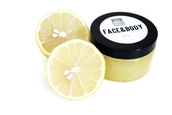 Lemon Face and Body Exfoliating Sugar Scrub - Vegan 6 oz