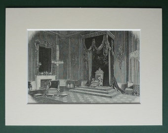 Antique 1886 Buckingham Palace Throne Room Print - Ostentatious - Queen Victoria - Victorian - Royal Family - Royalty - Engraving - Spendou