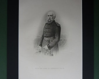 Original 1896 Duke Of Cambridge Matted Print - Victorian - Prince George - British History - Field Marshal - Military - Officer - Army