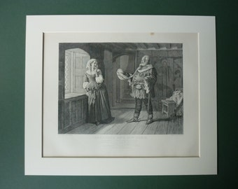 Original 1883 Merry Wives Of Windsor Matted Print - Antique - William Shakespeare - Shakespearean - Tudor - Victorian - Black & White